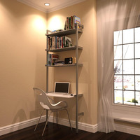 "33"" Laptop Desk with Shelves"