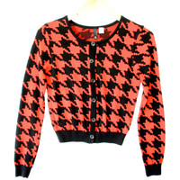 H&M Divided Houndstooth Halloween Cardigan Ugly Sweater