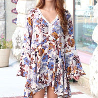Bells + Florals V-neck Dress {Honey Mix}