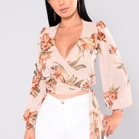 Last Chance Mesh Top - Nude/Floral