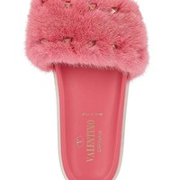 Rockstud Mink Fur Slide Sandals by Valentino