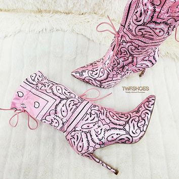 "Bandanna Madness Drawstring 4"" Stiletto High Heel Mid Calf Boots 7-11 Baby Pink"