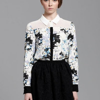 Floral Ink Print Long-Sleeve Collar Chiffon Blouse