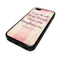Apple Iphone 5 or 5s Case Cover Pink Cross Religious Quote God Design Black Rubber Silicone Teen Gift Vintage Hipster Fashion Design Art Print Cell Phone Accessories