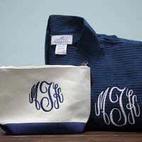 Personalized Robe & Canvas Cosmetic Bag Set with Circle Monogram