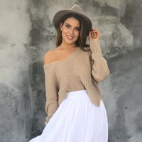By The Fire Knit Sweater in Taupe