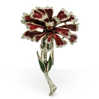 CORO CRAFT Corocraft Sterling Vermeil Carnation Flower Fur Clip 1946 Red Enamel Pin