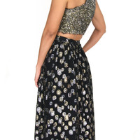 Vintage 1970s High Waist Maxi Skirt With Metallic Gold And Silver Bubbles