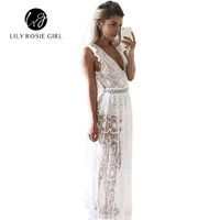 Hollow Lace Women Spring Maxi Dress