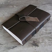 Leather journal, leather notebook, travel journal, travel notebook, leather diary, teacher gift, blank book, hand bound brown