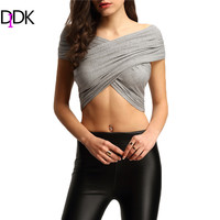 DIDK Fashion T-shirts For Women Cotton Top 2016 New Grey Short Sleeve V Neck Pleated Cross Convertible Sexy Crop T-Shirt