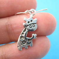 Small Cute Giraffe Animal Dangle Earrings in Sterling Silver from Dotoly Plus