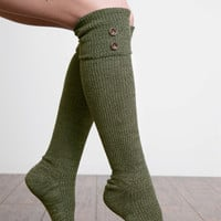 Tall Heathered Button Boot Sock