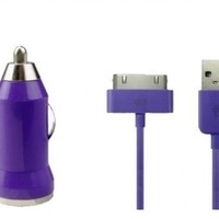 SMART-Tech 2 in 1 Car Charger + USB Data Cable for iPhone 3G/3GS/4/4G/4S iPod Touch M509