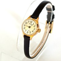 Miniature Womens Watch Sekonda 17 Jewels. Rose Gold Plated Vintage Ladies Watch 80s. Small Soviet Russian Watch  For Women. Gift for Her.