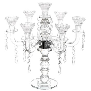 """Crystal Candelabra with Hanging Crystals 7 Branches  14""""H"""
