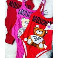 Moschino new ladies sexy print letter bear one-piece swimsuit bikini