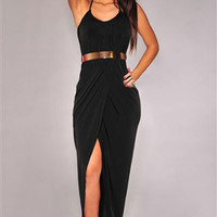 Halter Draped Gold Belted Black Jersey Maxi Dress