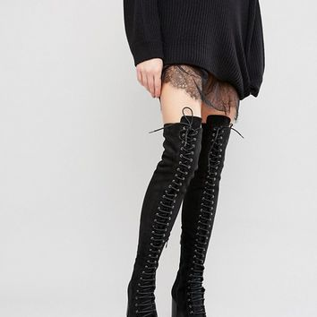 Public Desire Blake Lace Up Heeled Over The Knee Boots at asos.com