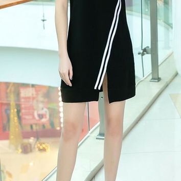 """Adidas""Women Casual Fashion Letter Printing Short Sleeve Dress Long Skirt"