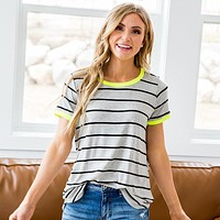 NEW! Alexis Gray Striped Top With Neon Lime Trim