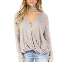Deja Vu Taupe Long Sleeve Choker Top with Surplice Detail
