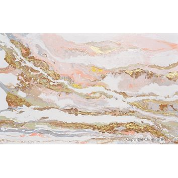 """""""That Rosy Glow"""" GICLEE PRINT Art Pink White Gold Beige Coastal Abstract Painting Marbled Coastal Wall Art"""