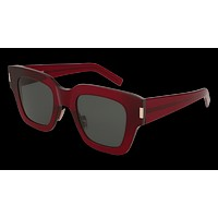 Saint Laurent - SL 184 Slim Burgundy Sunglasses / Green Lenses