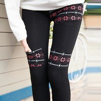 Stylish Winter Korean Slim Print With Pocket Sports Casual Leggings [8348188225]