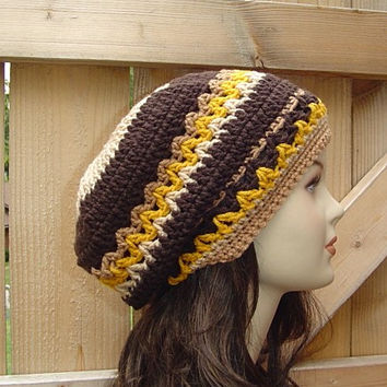 I love the Seventies Bohemian Hippie Slouchy Beanie Hat Handmade in Crochet small dread tam