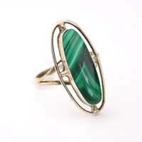 Vintage Sterling Silver Green Marbled Ring - Mexico 1960s-1970s