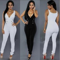 black white women jumpsuit 2016 summer sexy sleeveless button sides bodycon jumpsuit plus size full bodysuits women romper XD822