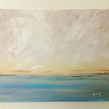Seascape Acrylic Painting 16x20 Canvas Signed Art Summer Neutral Blue Beach Abstract Contemporary Artwork