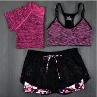 3pcs Women's Sport Bras Padded Yoga Fitness Racerback Vest Shorts Set 05