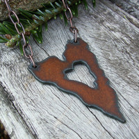 Copper Heart Necklace, Large Rusted Iron Pendant, Rustic, Western, Southwest Style, Casual, Funky, Trendy Jewelry, Awesome Gift Idea