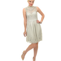 1920s Style Grey & Pearl Sequin Hand Beaded Deco Flapper Short Flare Dress