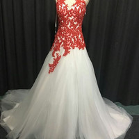 Style #012817 Red and White Halter Style Wedding Dresses