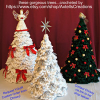 RARE CROCHET PATTERNs Instant Download Pdf 1970s Vintage Crochet Pattern Christmas Tree with Branches Cones Berries plus 4 Unique Snowflakes