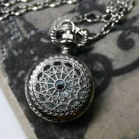 Steampunk Pocket Watch Necklace  Silver by robinhoodcouture