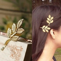 TS275 Hot New Fashion Wedding Hair Accessories Olive Branches Leaves Beautiful Bride Hairpin Side Folder Jewelry = 1929495236