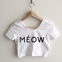Meow Feline Couture Typography Relaxed Fit Crop Top
