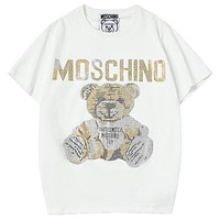 Moschino 2019 new loose hot drilling tide brand men and women round neck half sleeve t-shirt white