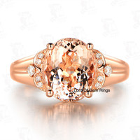 Oval Morganite Engagement Ring Diamond 14K Rose Gold 8x10mm  Floral