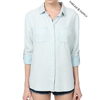 PREMIUM DESIGN Chambray Button Front Stripe Shirt (CLEARANCE)