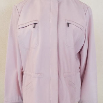 90s Pink Super Soft Leather , Liz Claiborne Jacket. Ladies Size XL.- Free Shipping!