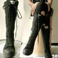 KNEE HI TOP PUNK ROCK canvas BOOTS 7-7.5 ALL BLACK 38