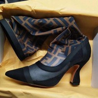 Fendi Black stitching coffee, FF letter, mesh, high heel and high tube boots
