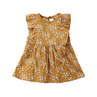 Retro Girl Floral Dress Baby Kids Princess Party Tutu Ginger Yellow Clothes