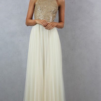 Charming Chiffon Tulle w Champagne Gold Sequin Bridesmaid/Prom/Formal Dress