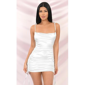 Hit The Jackpot White Satin Slip Sleeveless Spaghetti Strap Drape Cowl Neck Ruched Bodycon Mini Dress - 3 Colors Available